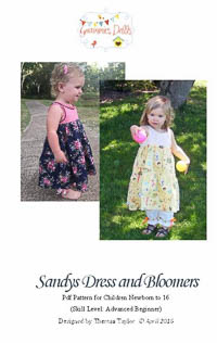 NEW Sandys Dress and Bloomers PDF - Grammies Dolls - Sizes NB�16
