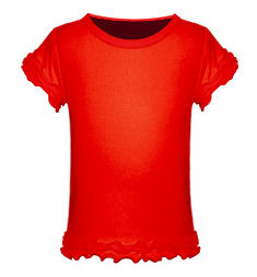 24M Red Triple Ruffled Short Sleeved Tee